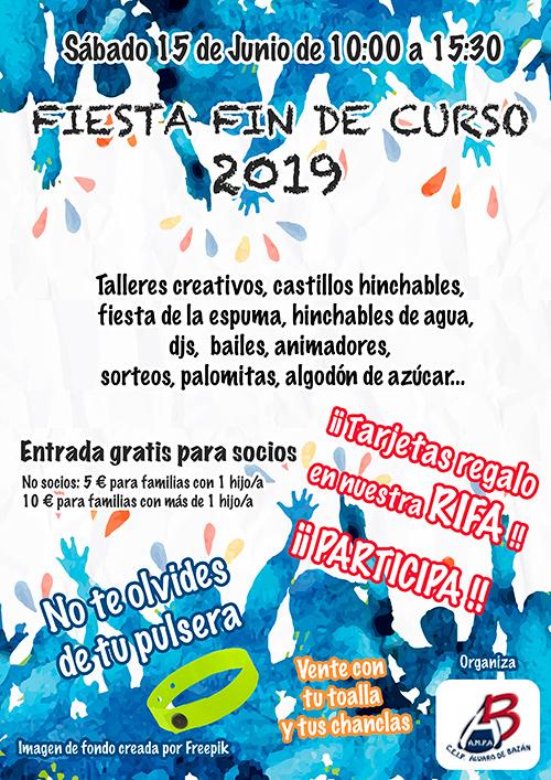 Cartel fiesta fin de curso Colegio público Álvaro de Bazán